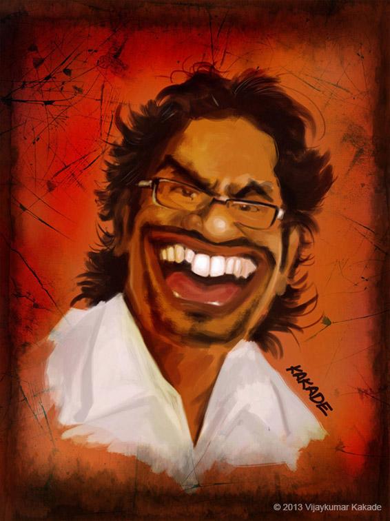 Ajay Gogavale, a caricature by Vijaykumar Kakade