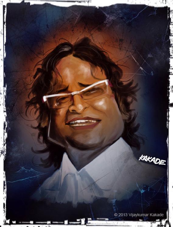Atul Gogavale, a caricature by Vijaykumar Kakade