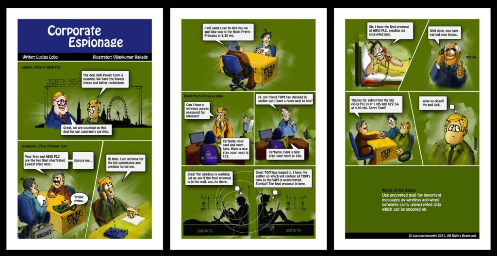 Corporate Espionage, a comic strip on cyber security illustrated by Vijaykumar Kakade