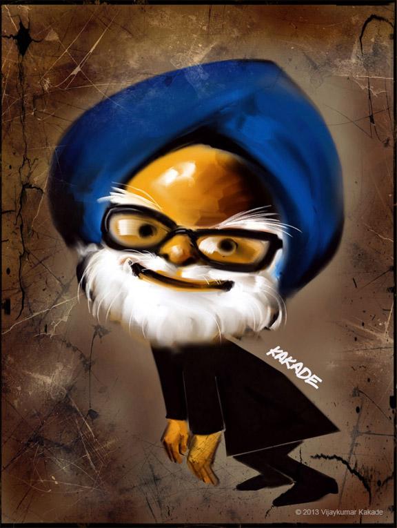 Manmohan Singh, a caricature by Vijaykumar Kakade
