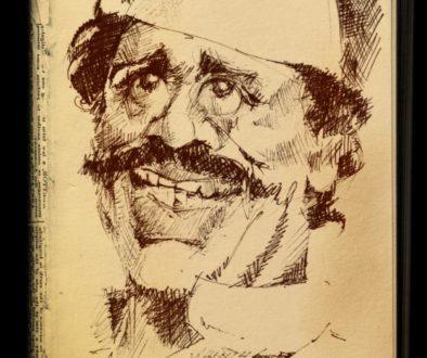 Nilu Phule, a caricature by Vijaykumar Kakade