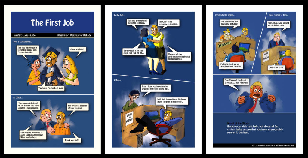 The First Job, a comic strip on cyber security illustrated by Vijaykumar Kakade