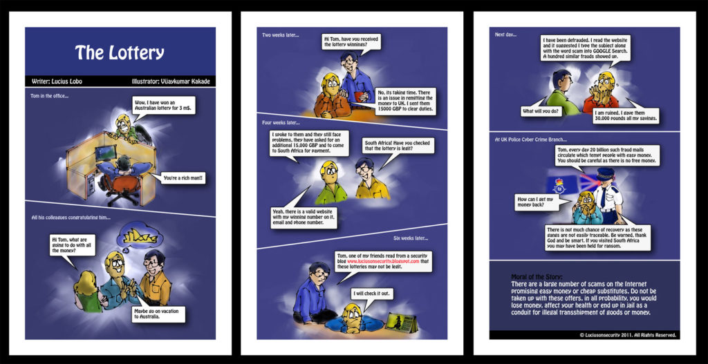 The Lottery, a comic strip on cyber security illustrated by Vijaykumar Kakade