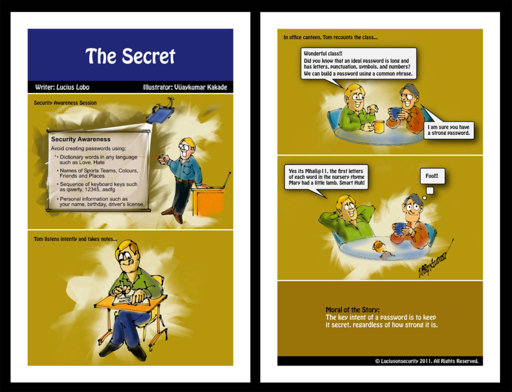 The Secret, a comic strip on cyber security illustrated by Vijaykumar Kakade