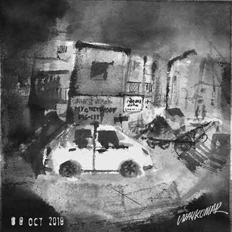 The White Car, an ink painting for Inktober 2018 by Vijaykumar Kakade