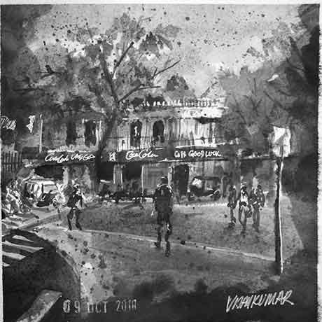 Café Goodluck, an ink painting for Inktober 2018 by Vijaykumar Kakade