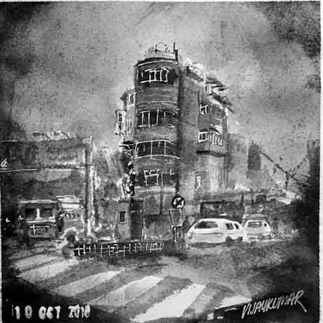 Hotel Building, an ink painting for Inktober 2018 by Vijaykumar Kakade