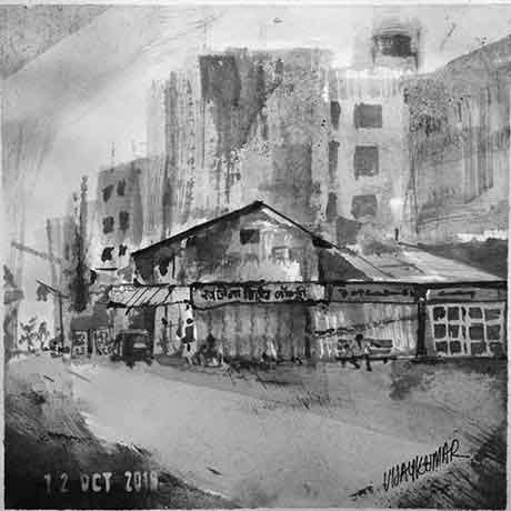 The Laundry Shop, an ink painting for Inktober 2018 by Vijaykumar Kakade