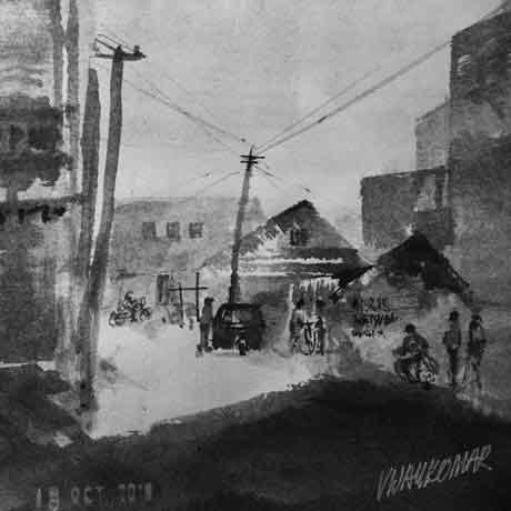 Small Town Road, an ink painting for Inktober 2018 by Vijaykumar Kakade