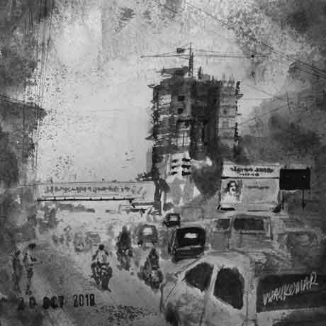 Under Construction, an ink painting for Inktober 2018 by Vijaykumar Kakade