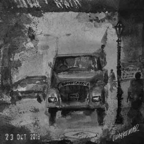 Goods Carrier, an ink painting for Inktober 2018 by Vijaykumar Kakade