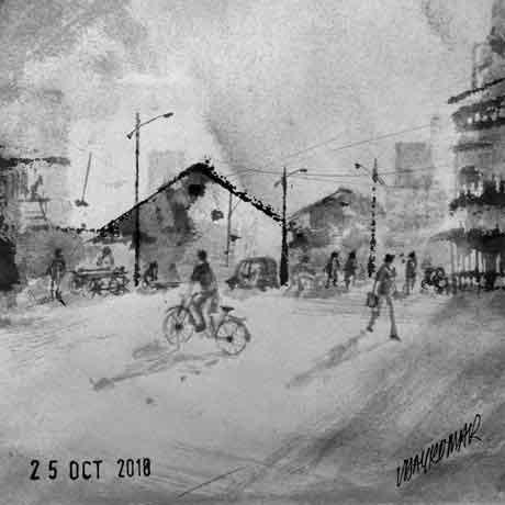 Near Mandai Area, an ink painting for Inktober 2018 by Vijaykumar Kakade