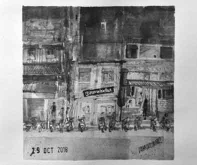 Tufaan Flour Mill, Kumathekar Road, Pune, an ink painting for Inktober 2018 by Vijaykumar Kakade