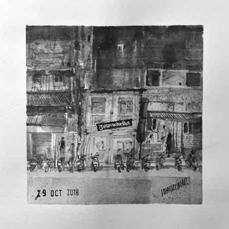 Tufaan Flour Mill, Kumathekar Road, Pune, an ink painting for Inktober 2018 by Vijaykumar Kakade