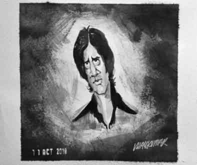 Amitabh, an ink painting for Inktober 2018 by Vijaykumar Kakade