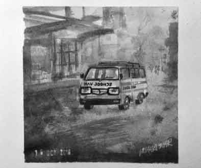 School Van, an ink painting for Inktober 2018 by Vijaykumar Kakade