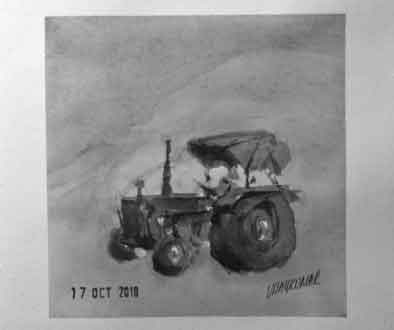 Tractor, an ink painting for Inktober 2018 by Vijaykumar Kakade