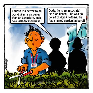 The Bench, a pocket cartoon by Vijaykumar Kakade