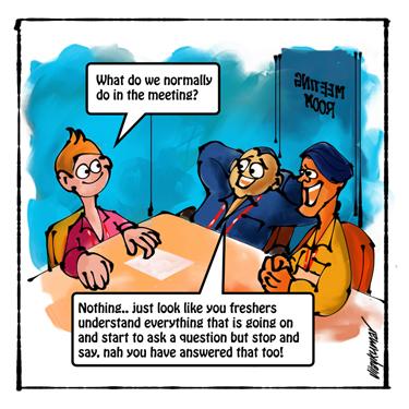 The Fresher, a pocket cartoon by Vijaykumar Kakade