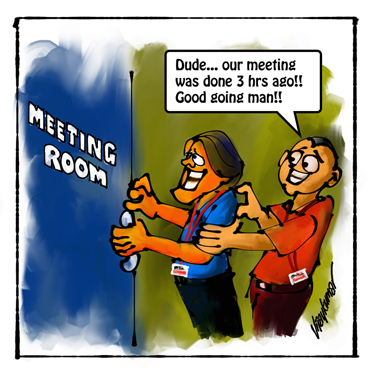 The Meeting, a pocket cartoon by Vijaykumar Kakade