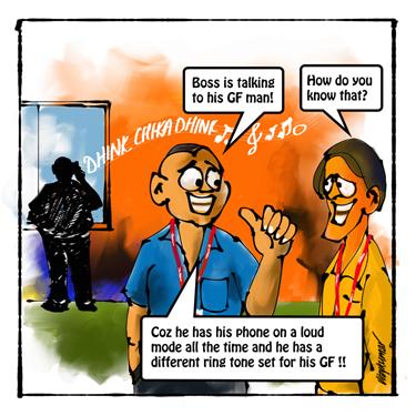 The Ringtone, a pocket cartoon by Vijaykumar Kakade