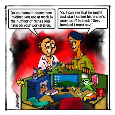 The Desk, a pocket cartoon by Vijaykumar Kakade